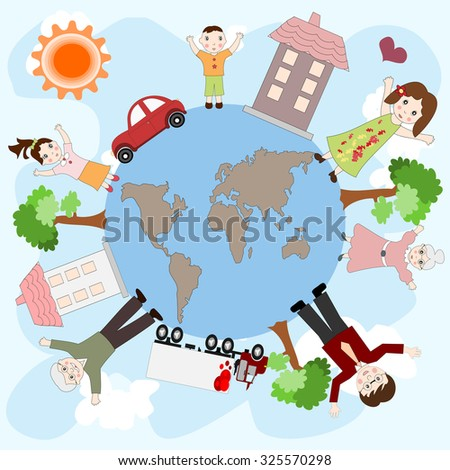 Happy European family on a peaceful planet, the concept of love and family values - stock photo
