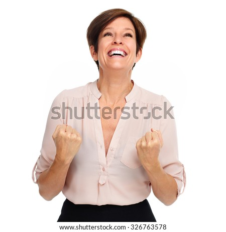 Happy excited business woman portrait isolated over white background. - stock photo