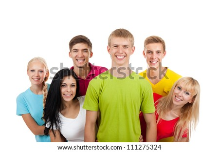 Happy excited smiling friends, group of young people standing isolated on white background