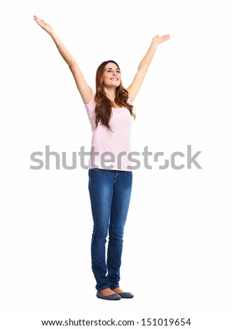 Happy excited woman. Isolated over white background.