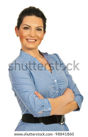 Happy executive woman standing with arms folded isolated on white background - stock photo