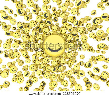 Happy face small icon 3d objects, horizontal, over white