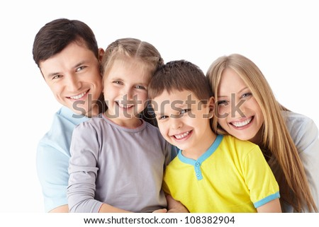Happy families with children on a white background - stock photo