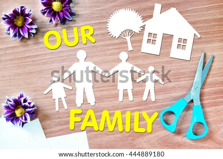 Happy family. Abstract conceptual image with paper scraps - stock photo
