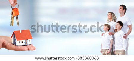 Happy family and little house. - stock photo