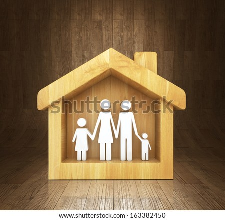 happy family at home, family concept - stock photo
