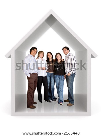happy family at home over a white background