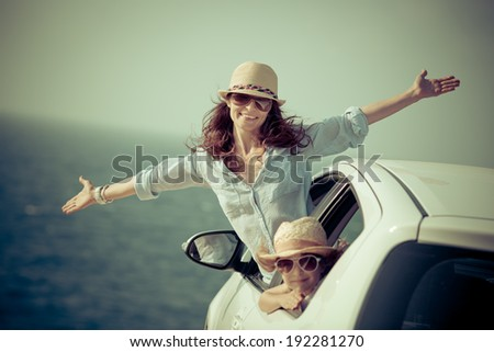 Happy family at the beach. Summer car trip. Vacations concept - stock photo