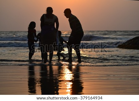 happy family at the sea