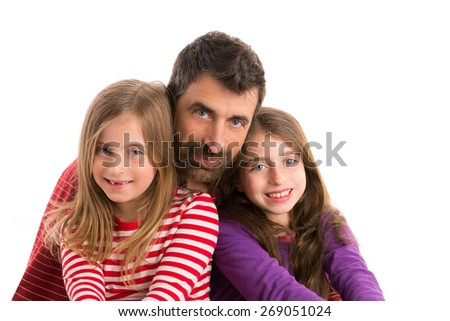 Happy family beard father and two kid daughters blue eyes on white background - stock photo