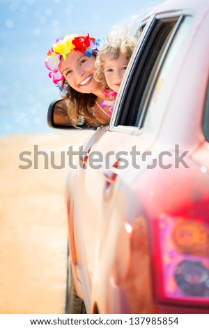 Happy family car trip on summer vacation. Travel concept - stock photo