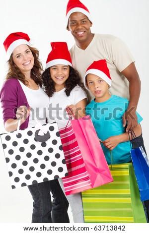 happy family christmas shopping - stock photo