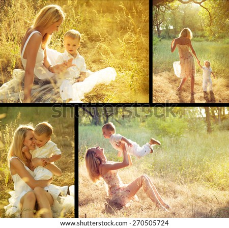 Happy family concept. Young mother and her son playing and having fun outdoor. - stock photo