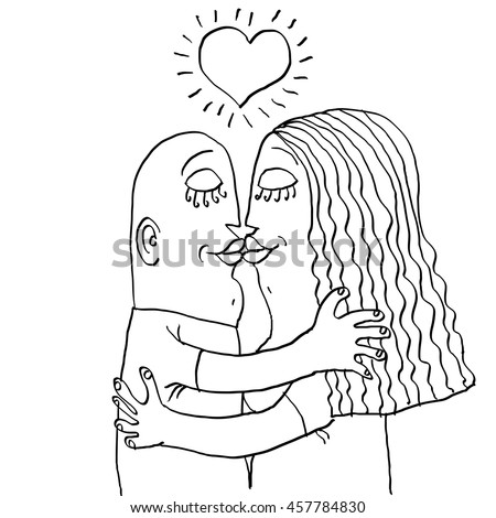 Happy family couple kissing, human relationships idea. Love and happiness conceptual monochrome illustration. Hand-drawn man and woman embracing, idyllic.  - stock photo