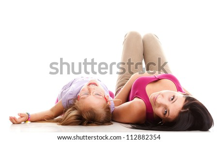 happy family, cute three year old litle baby laughing toddler girl playing with mom doing a fun - stock photo