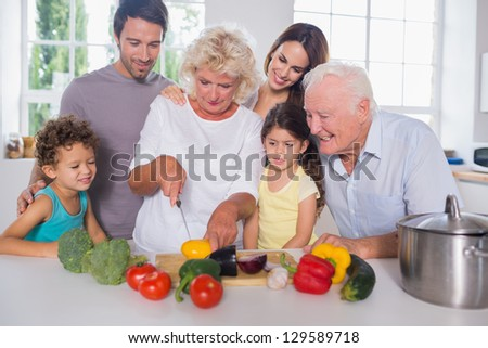 Happy family cutting vegetables together in the kitchen - stock photo