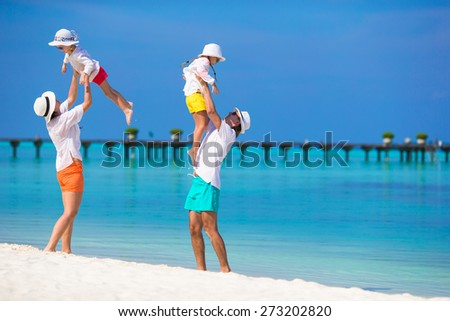Happy family during beach vacation