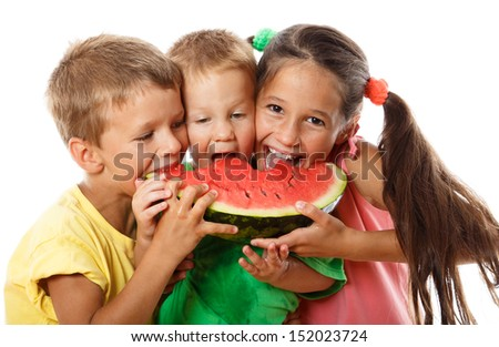 Happy family eating watermelon, isolated on white - stock photo