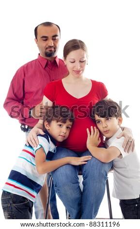 happy family expecting the baby - stock photo