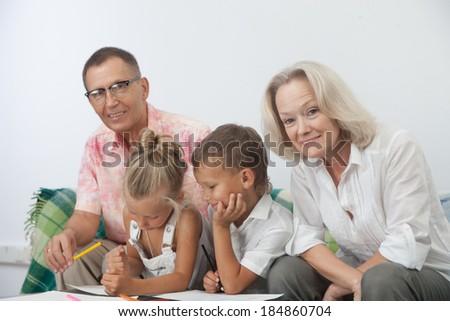 Happy family express love and unity common shot - stock photo