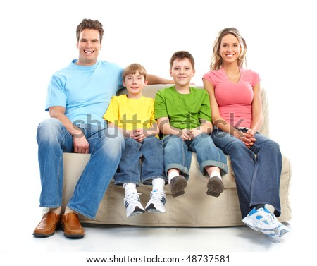 Happy family. Father, mother and boy. Over white background