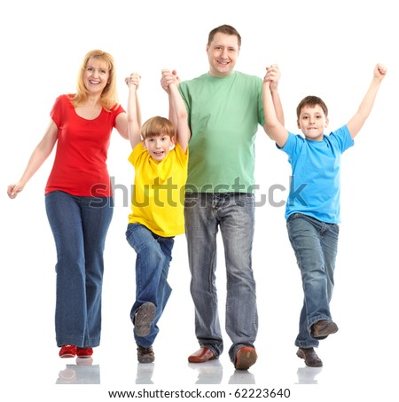Happy family. Father, mother and children. Isolated over white background - stock photo