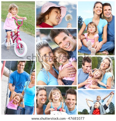 Happy family. Father, mother and daughter in the park - stock photo