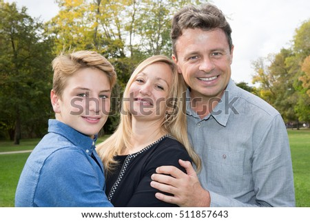 Happy family. Father, mother and son