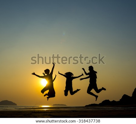 Happy family, father, mother, son and daughter in nature, sunset