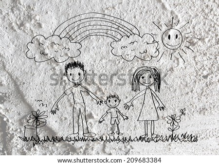 Happy family father, mother, son and daughter on wall texture background design