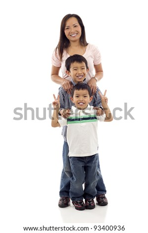Happy Family, Full length of a happy Asian mother with her two playful kids isolated over white background - stock photo