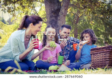 Happy family having a picnic in the park on a sunny day - stock photo