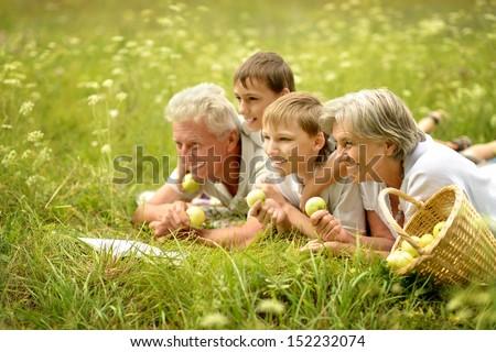 Happy family having a picnic on a sunny summer day - stock photo