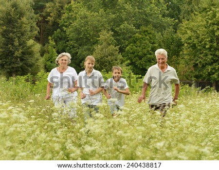 Happy family having a picnic on a sunny summer day