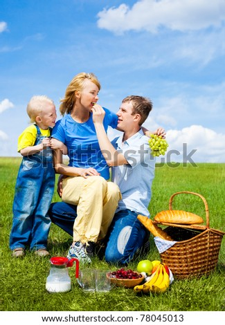 happy family having a picnic outdoor on a summer day