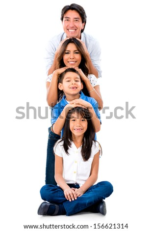 Happy family having fun - isolated over a white background  - stock photo
