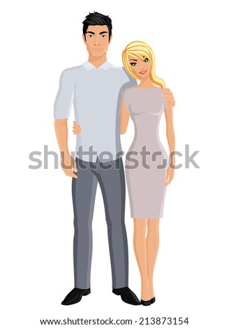 Happy family husband and wife married couple portrait on white background  illustration. - stock photo