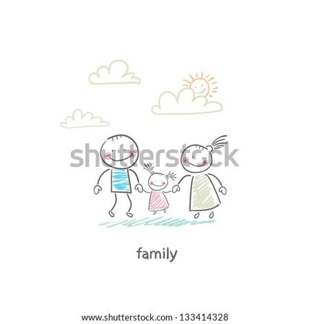 Happy family. Illustration. - stock photo