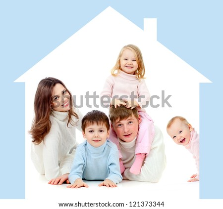 Happy family  in own home concept - stock photo
