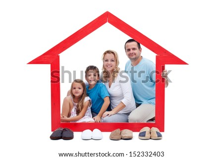 Happy family in their home concept - with slippers aligned in front