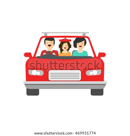 Happy family inside car driving illustration isolated on white background, flat cartoon people together drive auto with smiling faces, concept of family trip, journey, image