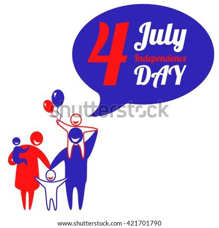 Happy family is celebrating American Independence Day. Independence Day illustration. Happy family icon - stock photo