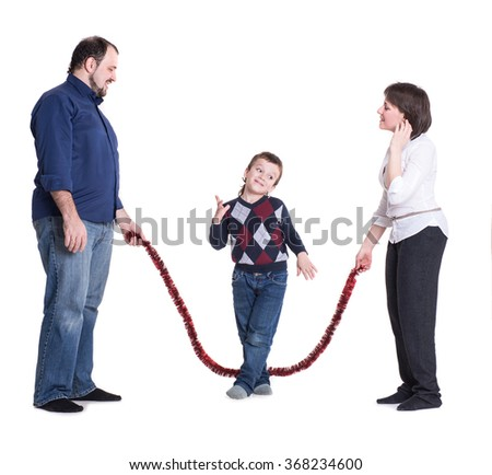 Happy family isolated on a white background: mom, dad and son - stock photo