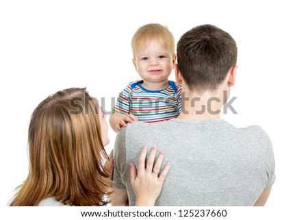 Happy family isolated on white background - stock photo