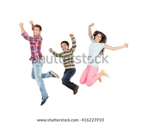 Happy family jumping isolated on white background - stock photo