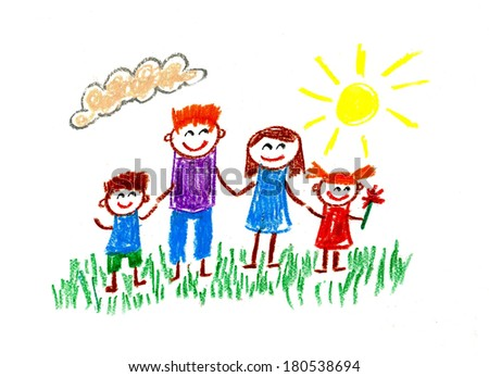 Happy family. Kids drawings - stock photo