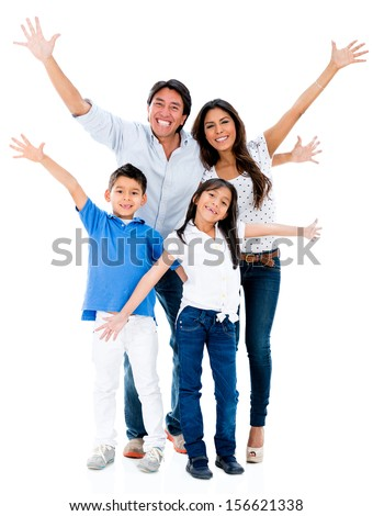 Happy family looking very excited with arms up - isolated over white background  - stock photo