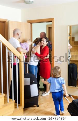 Happy family meeting kinsfolks - stock photo