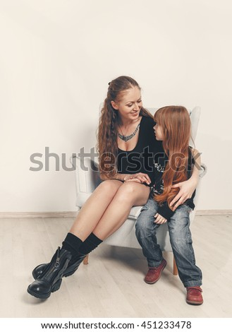 Happy family. Mother and Daughter. Talking, Laughing, Having fun