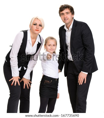 Happy family. Mother, father and daughter posing on a white background